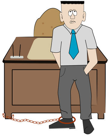 business man chained to his desk - concept overwork - vector