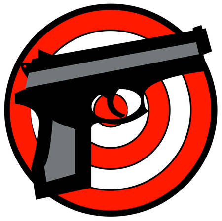 hand gun with red and white target behind - vector Ilustração