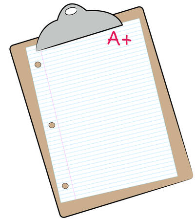 clipboard with lined paper marked with A+ - making the grade - vector Vettoriali