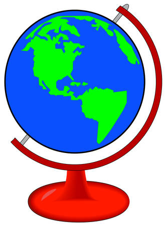 green and blue globe of world on red stand - vector
