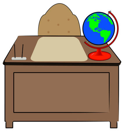 business or teachers desk with globe of world sitting on it - vector 向量圖像