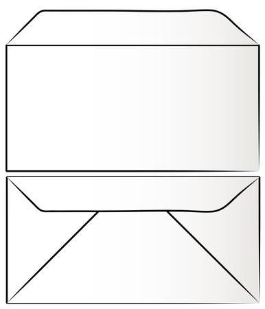 bekijken van witte envelop vanaf de voorzijde en terug - vector