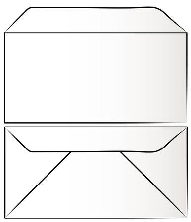 view of white envelope from the front and back - vector