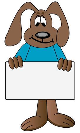 dog cartoon holding up blank sign - vector