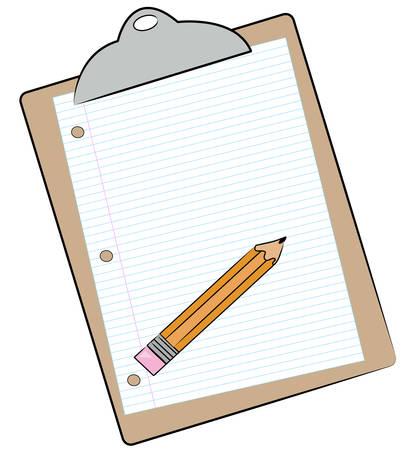 Klembord met potlood en bekleed papier aangesloten - vector Stock Illustratie