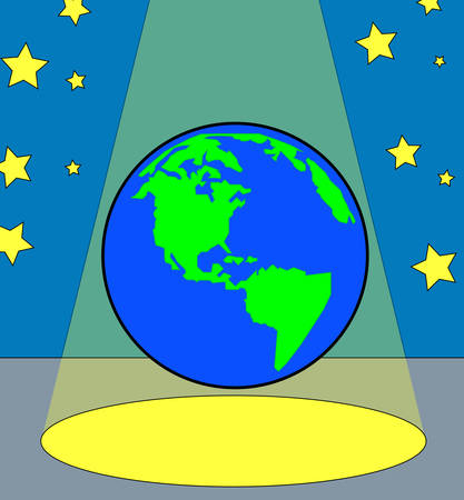 globe or world under the spotlight - all the worlds a stage - vector