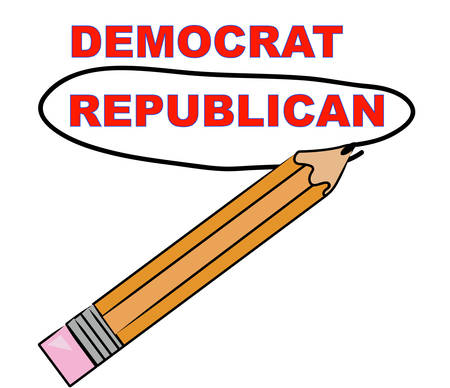 pencil circling the word republican over democrat - vector Illusztráció