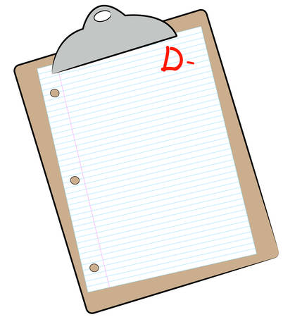 clipboard with lined paper marked with D- - failing mark or grade - vector Illustration