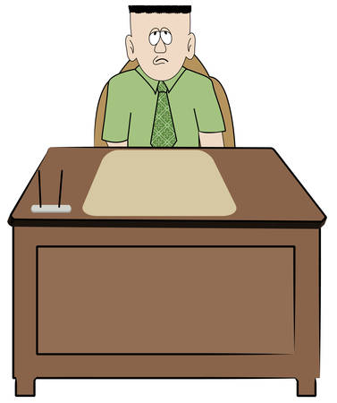 frustrated overworked business man sitting at his desk - vector Ilustracja