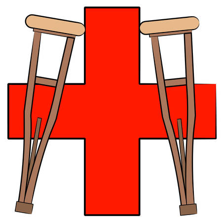 pair of crutches leaning against first aid symbol -  vector