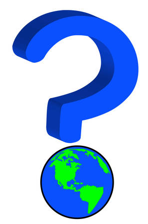 earth or globe as part of question mark - global uncertainty - vector