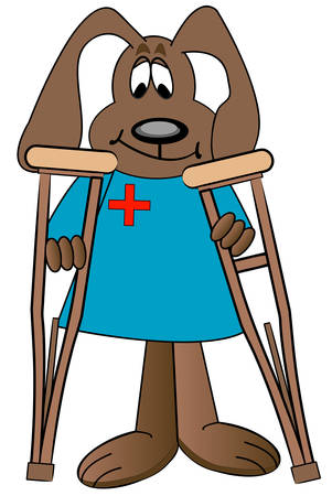 dog cartoon health care professional holding pair of crutches - vector