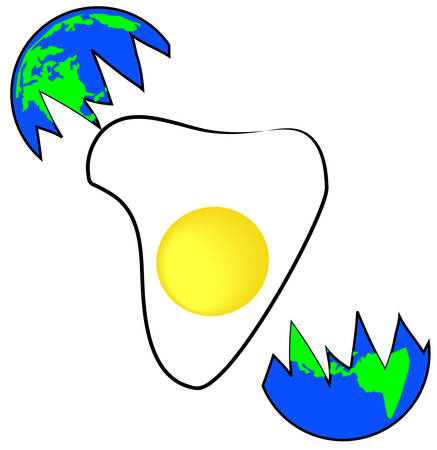 地球 - 地球の復活から落下卵の概念図  イラスト・ベクター素材