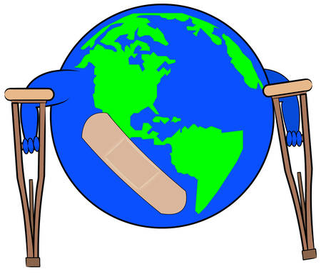 earth with plaster on crutches - concept of global concern - vector Ilustrace