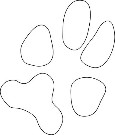 black dog or cat paw print outline - vector 向量圖像