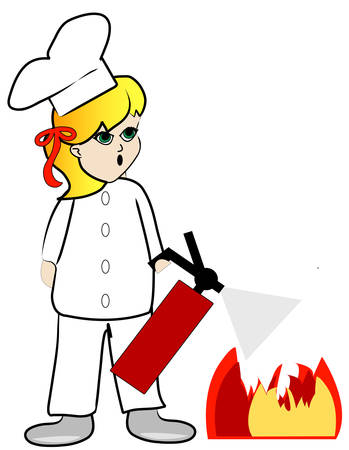 woman chef putting out kitchen fire with extinguisher - vector