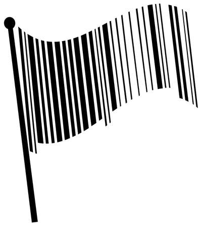 black scanning barcode as a wavy flag - vector