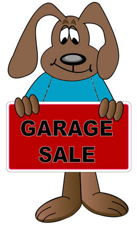 dog holding sign up for garage sale - vector Фото со стока