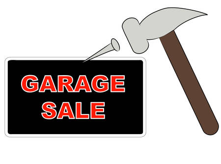 hammer and nail putting up garage sale sign - vector Иллюстрация