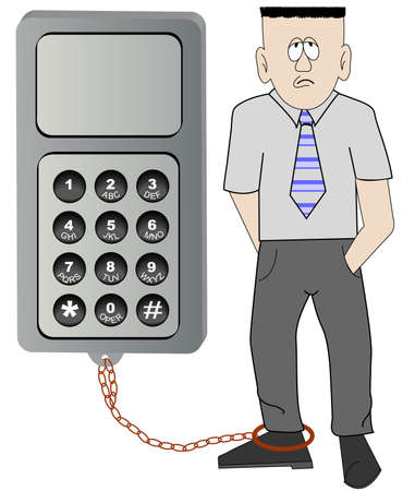 business man chained to his cell phone - unable to leave work - vector