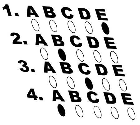 multiple choice style test or exam - vector Ilustração