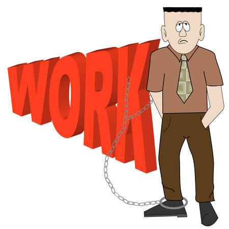cartoon of exhausted business man chained to his work - vector Stock Vector - 2733646