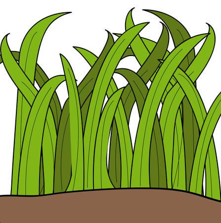녹색 잔디의 블레이드 그리기 만화 - 벡터 일러스트