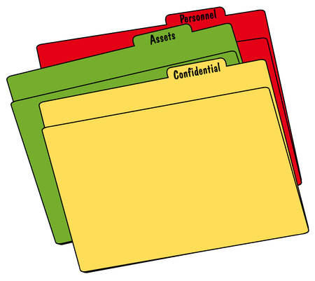 colored file folders with confidential, personnel and assets - vector Stock Illustratie