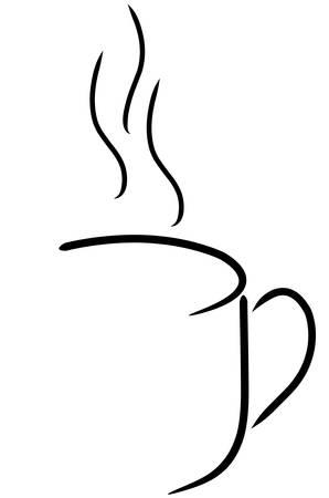 흑인과 백인 커피 잔 또는 차 컵 개요 일러스트