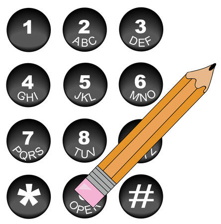 pencil pushing down the operator button on phone number key pad - vector Illustration