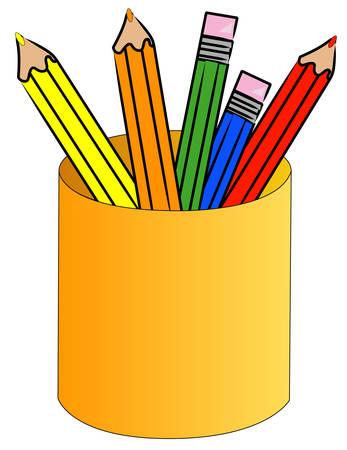 crayon de couleur crayons debout dans la tasse - vecteur