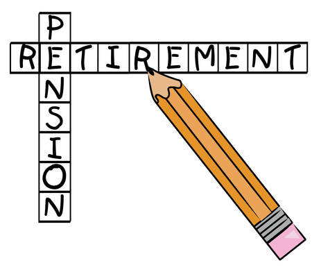 pencil filling in crossword with the words - pension and retirement - vector