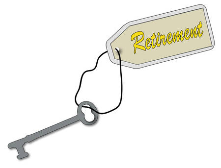 key to retirement - antique key tag with fob that says retirement - vector