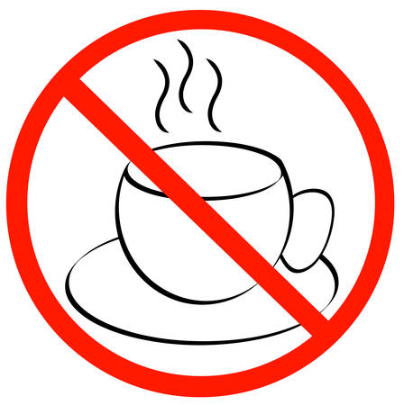 no coffee breaks - coffee mug with red with not allowed symbol - vector