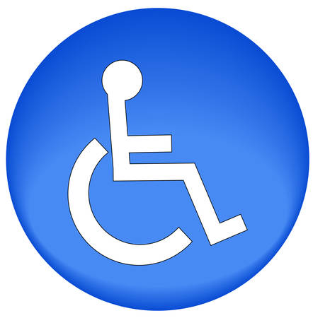 blue button or icon with handicap symbol of accessibility - vector Vectores