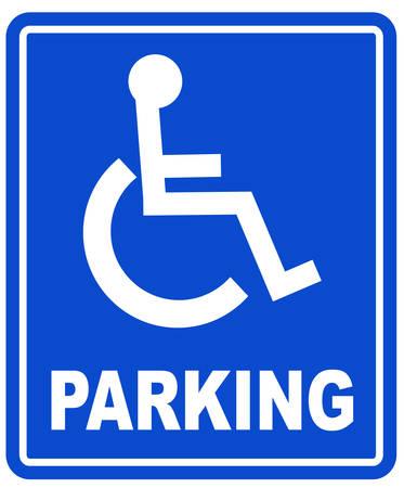 青色のハンディキャップの駐車場や車椅子駐車場サイン - ベクトル  イラスト・ベクター素材