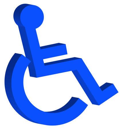 青いハンディキャップまたは車椅子のアクセスのシンボル - 3D - ベクトル