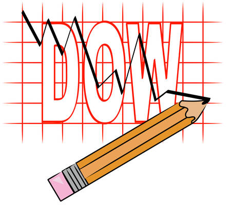 pencil and grid graph with dow going down - vector