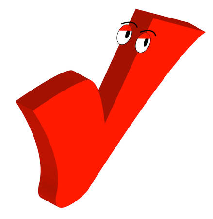 cartoon drawing of red checkmark with eyes - vector