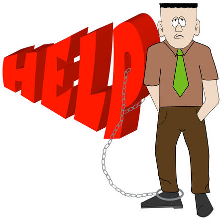 exasperated business man chained to word help - vector Illustration