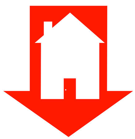 red down arrow with house inside - crashing housing market - vector Illustration