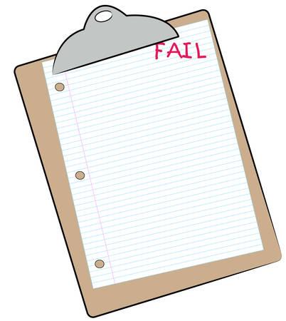 줄이 그어진 종이가 표시된 클립 보드 실패 - 실패한 할당 - 벡터