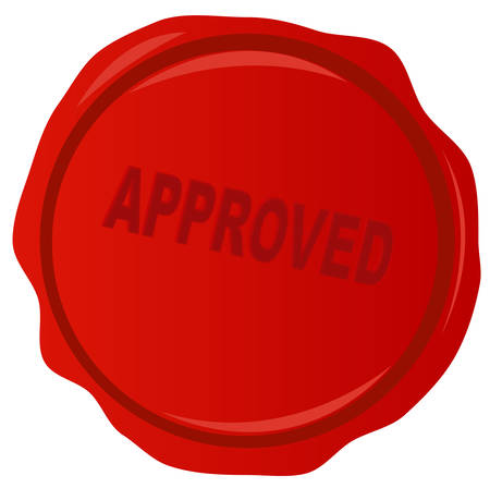 wax stamp or seal with approved stamped acrossed it - vector