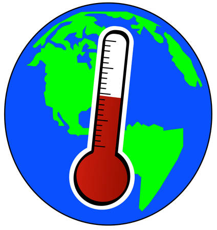 globe and thermometer - concept of global warming - vector