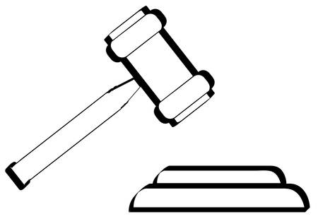 outline of gavel - hammer of judge or auctioneer - vector