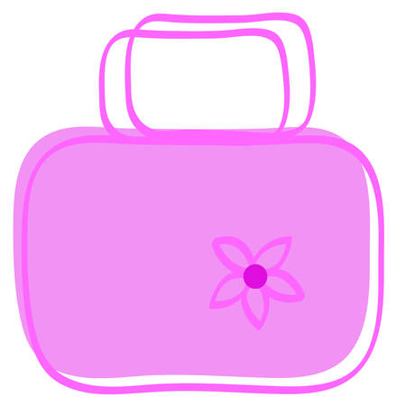 cartoon of ladies pink hand bag with flower - vector