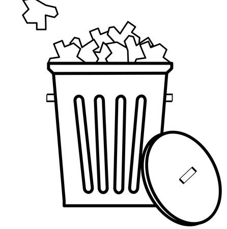 outline of garbage with filled to the top with garbage - vector
