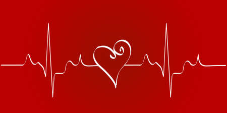 heart cardiogram with heart on red background - vector Stock Photo