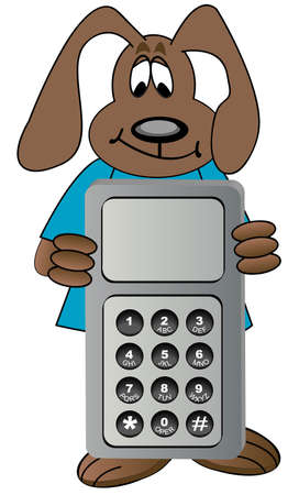 cartoon dog holding cell phone