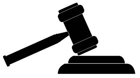 sillouette of gavel - hammer of judge or auctioneer - vector
